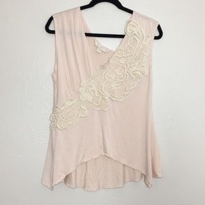 Boston Proper lace appliqué pink blouse M